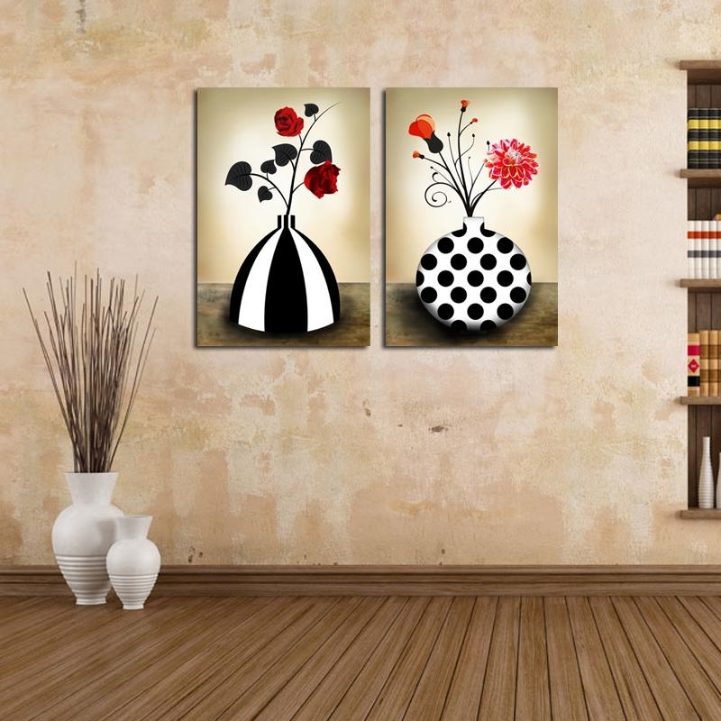 Flower Vase Canvas Prints Retro Black And White Abstract Floral Throughout Abstract Floral Canvas Wall Art (Image 10 of 20)