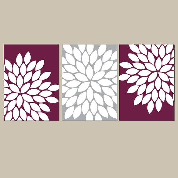 Flower Wall Art Maroon Gray Flower Bedroom Art Maroon Inside Kohl's Canvas Wall Art (Image 9 of 20)