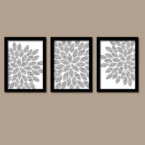 Flower Wall Art Silver Glitter Flowers Wall Art Glitter With Regard To Glitter Canvas Wall Art (Image 8 of 20)