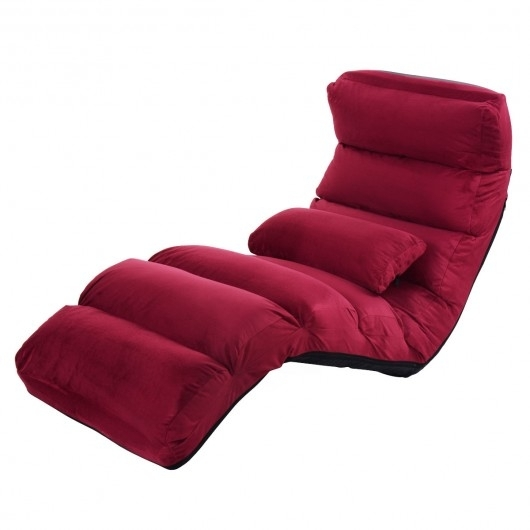 Folding Lazy Sofa Couch With Pillow – Floor Chairs – Chairs – Furniture Regarding Lazy Sofa Chairs (Image 5 of 10)