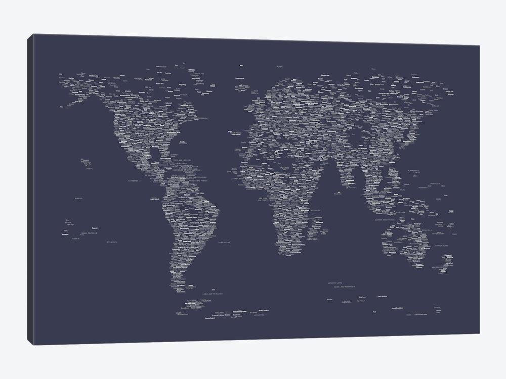 Font World Map (Navy Blue) Art Printmichael Tompsett | Icanvas With Regard To Navy Canvas Wall Art (Image 9 of 20)