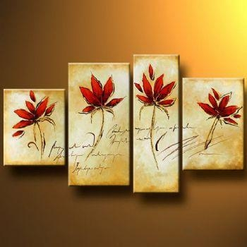 Four Red Flowers Modern Canvas Art Wall Decor Floral Oil Painting With Red Flowers Canvas Wall Art (Image 5 of 20)