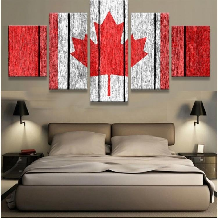 Frame 5 Pieces Hd Artwork Canada Flag Cuadros Decoracion Paintings Within Canvas Wall Art In Canada (Image 11 of 20)