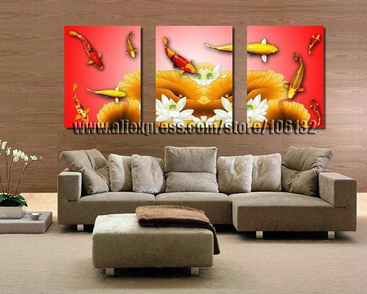 Framed 3 Panel Canvas Wall Art Koi Fish Chinese Painting Feng Shui For Koi Canvas Wall Art (View 16 of 20)