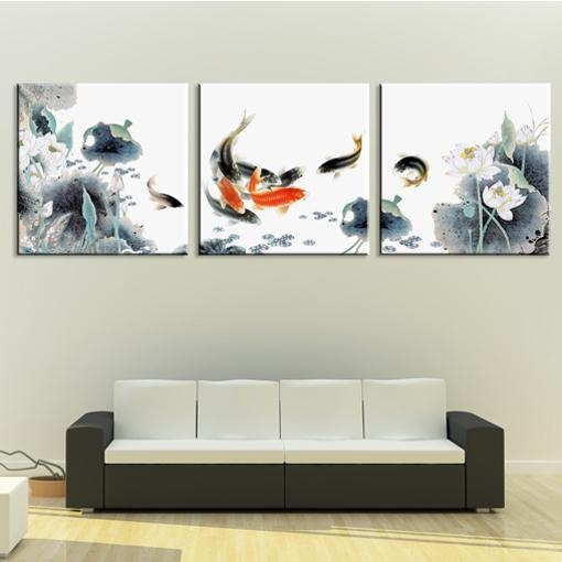 Framed 3 Panel Huge Chinese Art Koi Fish And Lotus Feng Shui Intended For Koi Canvas Wall Art (View 14 of 20)