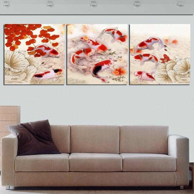 Framed 3 Panel Large Koi Fish Feng Shui Chinese Oil Painting On Regarding Koi Canvas Wall Art (View 12 of 20)