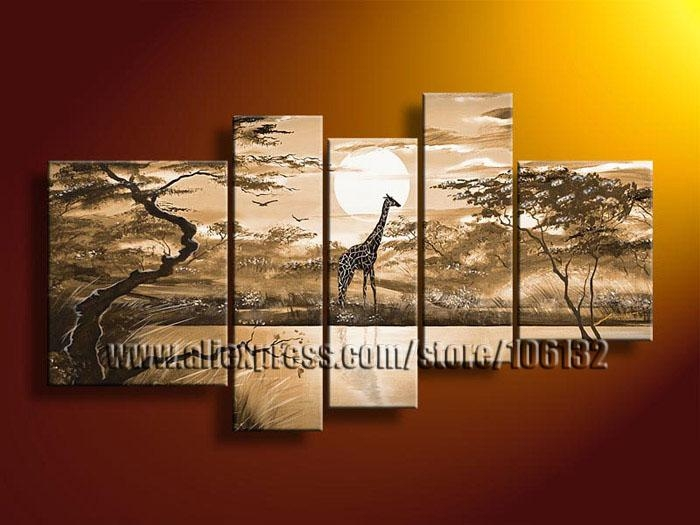 Framed 5 Panel High End Amazing Large African Decor Brown With Giraffe Canvas Wall Art (Image 7 of 20)