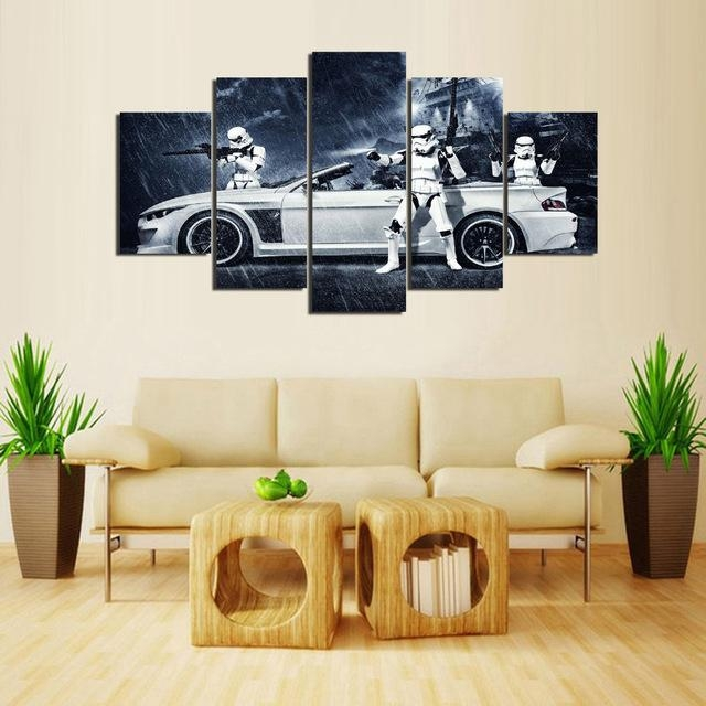 Framed) 5 Pieces Star Wars Assault Vehicle Bmw Modern Home Wall Within Bmw Canvas Wall Art (Image 10 of 20)