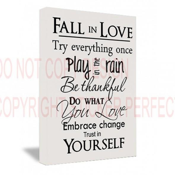 Framed Canvas Print Fall In Love Try Everything Once Play In The In Love Quotes Canvas Wall Art (View 20 of 20)