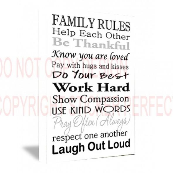 Framed Canvas Print Family Rules Help Each Other Be Thankful Know Within Canvas Wall Art Family Quotes (Image 5 of 20)