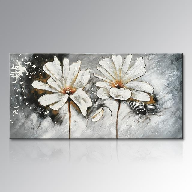 Framed Hand Painted White And Red Flower Oil Painting On Canvas Inside Abstract Floral Canvas Wall Art (Image 11 of 20)