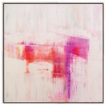 Framed Pink On Red Wall Canvas Art With Regard To Pink Abstract Wall Art (Image 10 of 20)