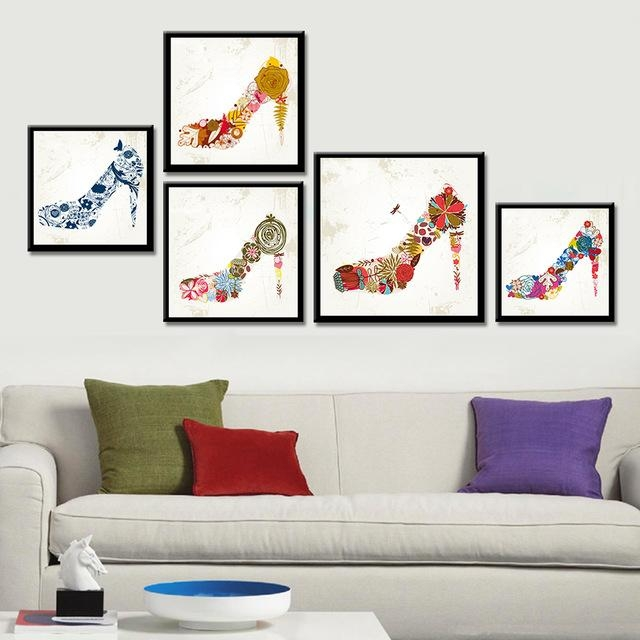 Frameless Cock High Heels Canvas Painting Abstract Wall Art Pertaining To Abstract Wall Art Posters (Image 7 of 20)
