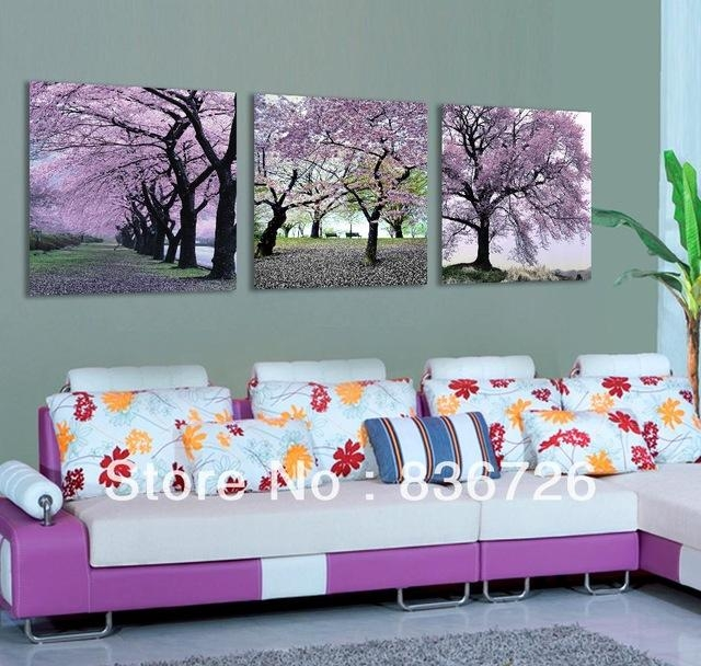 Free Shipping 3 Piece Canvas Wall Art Flower Wall Canvas Paintings Within Lilac Canvas Wall Art (View 2 of 20)