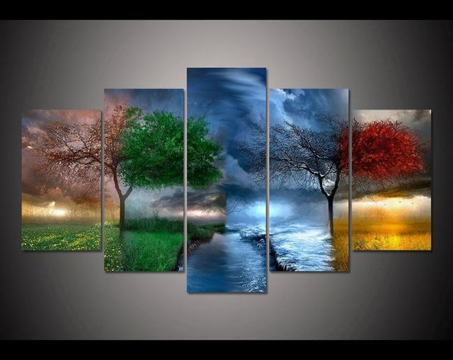Free Shipping 5 Panel Large Hd Printed Painting Fantasy Nature For Nature Canvas Wall Art (Image 10 of 20)