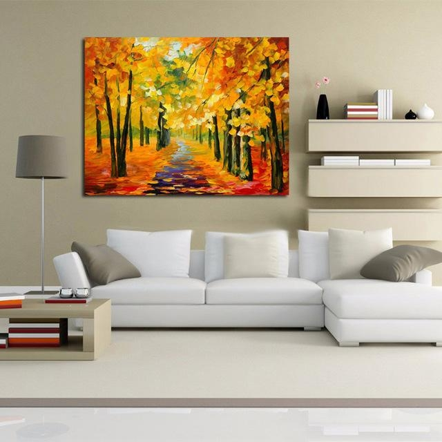 Free Shipping Abstract Golden Tree Forest Knife Oil Painting On Intended For Montreal Canvas Wall Art (Image 11 of 20)