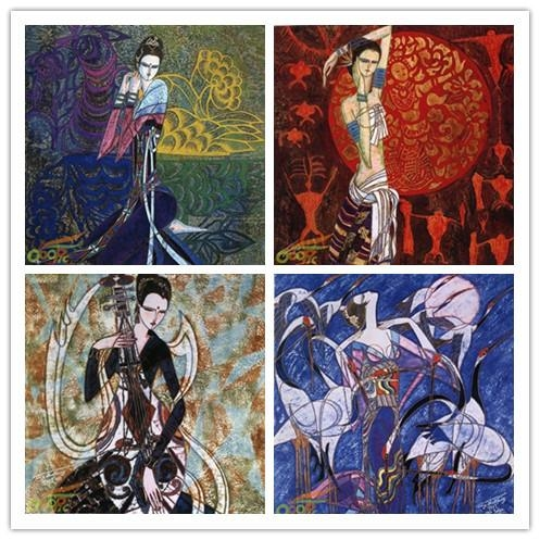 Free Shipping Abstract Painting Chinese Style Ethnic Women Canvas Within Ethnic Canvas Wall Art (Image 12 of 20)
