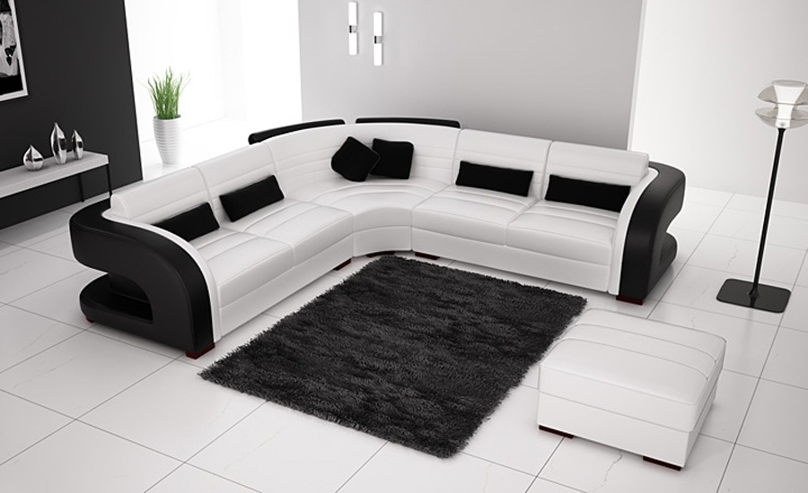 Free Shipping Classic Black And White Genuine Leather L Shaped With Black And White Sofas (Image 6 of 10)
