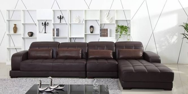 Free Shipping Classic Coffee Color Top Grain Leather Sofa, L Shaped Inside L Shaped Sectional Sofas (Image 3 of 10)