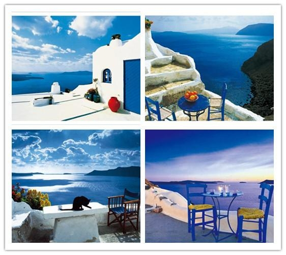Free Shipping Greece Seascape Painting Mediterranean Landscape Within Greece Canvas Wall Art (Image 11 of 20)