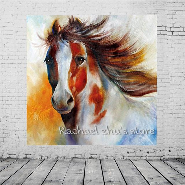 Free Shipping Hand Painted Modern Abstract Horse Oil Paintings On Throughout Abstract Horse Wall Art (View 9 of 20)