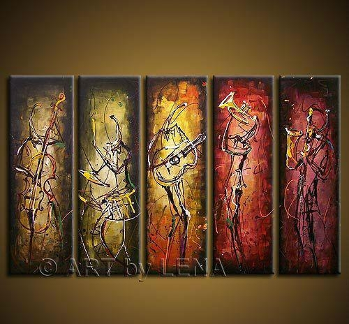 Free Shipping Hand Painted Wall Art Abstract Music Oil Painting On Throughout Abstract Music Wall Art (Image 4 of 20)