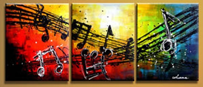Free Shipping Handpainted 3 Piece Modern Abstract Oil Painting On For Abstract Music Wall Art (Image 5 of 20)