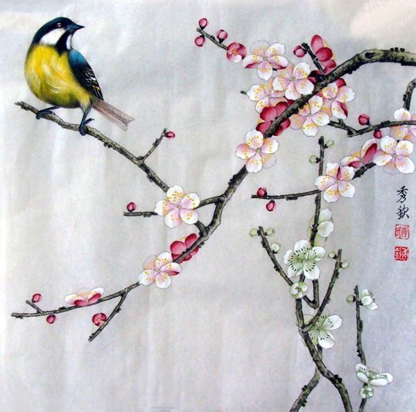 Free Shipping Peach Blossom Flower Birds Landscape Oil Painting Inside Birds Canvas Wall Art (Image 11 of 20)