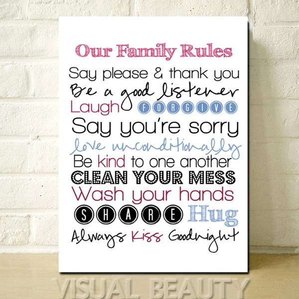 Free Shipping The Letter Our Family Rules Wall Word Art For Living Intended For Canvas Wall Art Family Rules (Image 9 of 20)