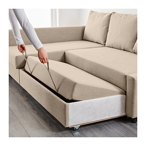 Friheten Corner Sofa Bed With Storage Skiftebo Beige – Ikea Throughout Ikea Corner Sofas With Storage (Image 6 of 10)