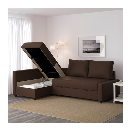 Friheten Corner Sofa Bed With Storage Skiftebo Brown – Ikea Regarding Ikea Corner Sofas With Storage (Image 7 of 10)
