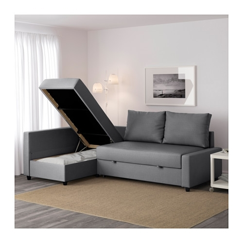 Friheten Corner Sofa Bed With Storage Skiftebo Dark Grey – Ikea Inside Storage Sofas (Image 2 of 10)