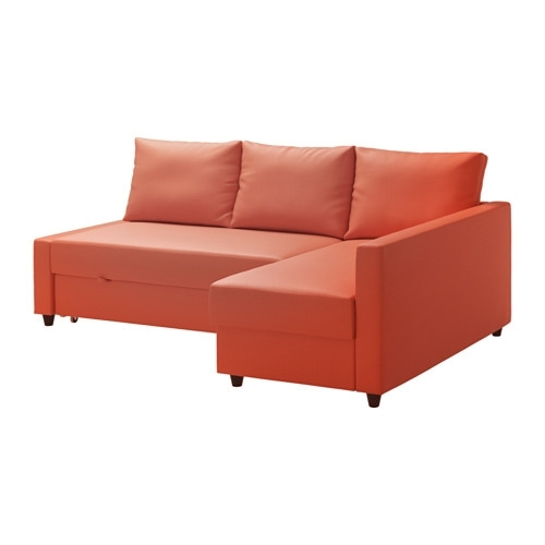 Friheten Corner Sofa Bed With Storage – Skiftebo Dark Orange – Ikea In Ikea Corner Sofas With Storage (Image 4 of 10)