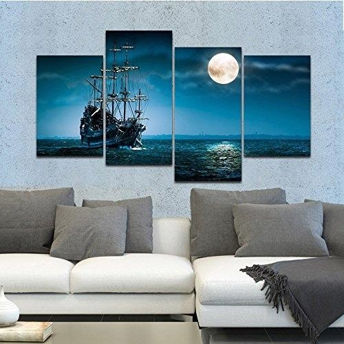 Full Moon Ocean Ship 4 Panel Seascape Framed Canvas Wall Art Within Ocean Canvas Wall Art (Image 12 of 20)