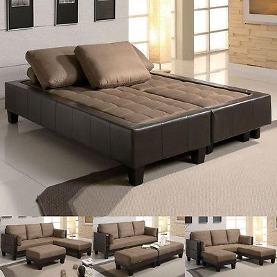 Fulton Tan Microfiber Convertible Sofa Bed Couch Sleeper 2 Ottoman Pertaining To Sectional Sleeper Sofas With Ottoman (Image 1 of 10)