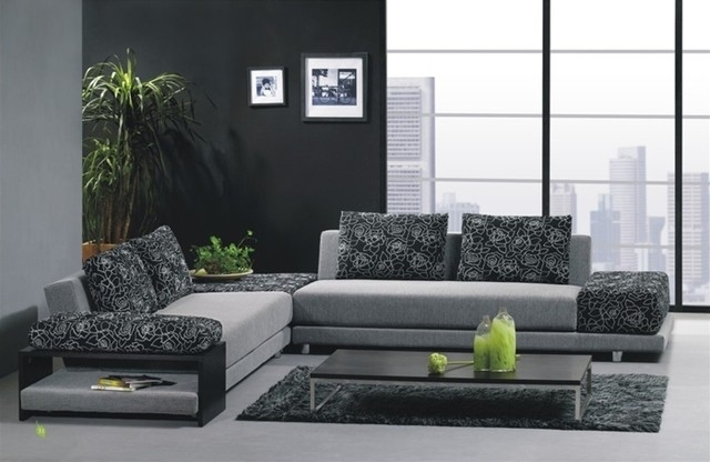 Furniture : Graceful Stylish Two Toned Microfiber Sectional Sofa Pertaining To Modern Microfiber Sectional Sofas (Image 6 of 10)