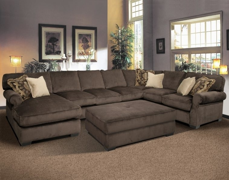 Furniture Large Brown Double Sided Sectional Couch With Ottoman Intended For Couches With Large Ottoman (Image 3 of 10)