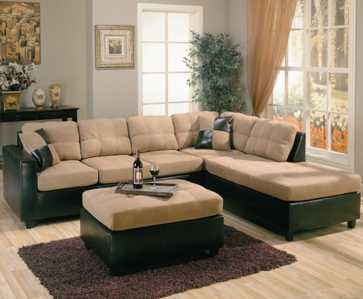 Furniture: Leather And Suede Sectional Awesome New Brown Suede Within Leather And Suede Sectional Sofas (Image 2 of 10)
