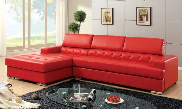 Furniture: Modern Red Faux Leather Sectional Furniture For Small Throughout Red Faux Leather Sectionals (Image 5 of 10)