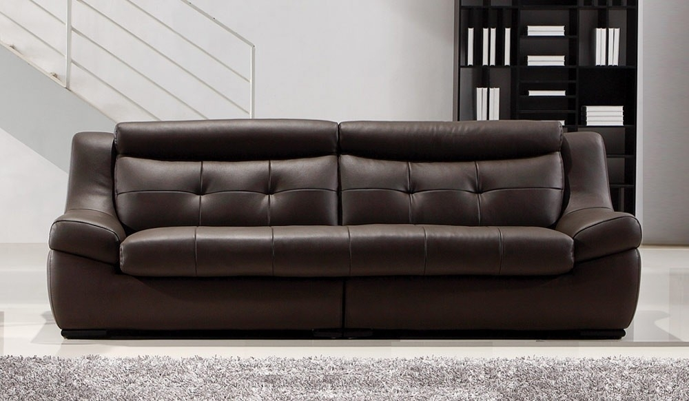 Gallina Large Brown Leather Sofa – 4 Seater – Modern Settee – Delux Deco Intended For Large 4 Seater Sofas (Image 6 of 10)