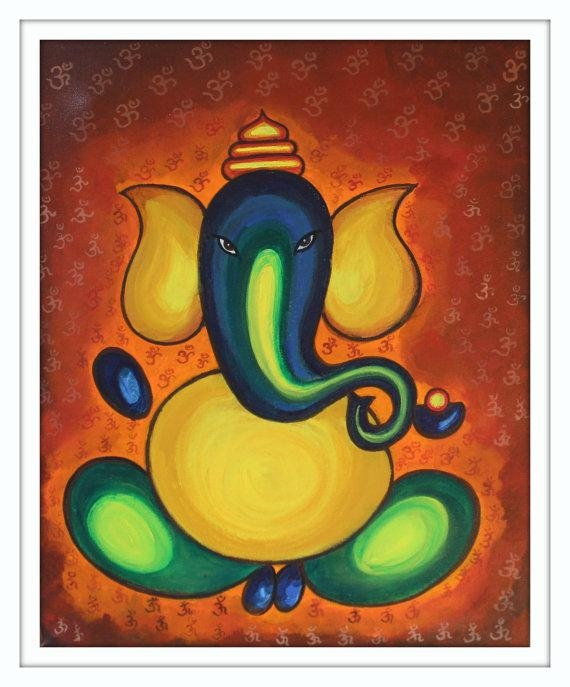 Ganesh Painting, Acrylic On Canvas, Om Art, Modern Abstract Throughout Abstract Ganesha Wall Art (Photo 4 of 20)