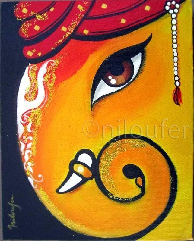 Ganesha Acrylics On Canvas Niloufer Wadia | Portfolio Art Intended For Abstract Ganesha Wall Art (View 8 of 20)