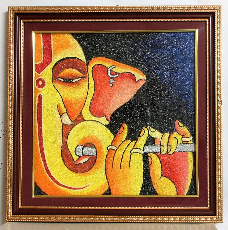 Ganesha – Ceramic Dust – Framed With Glass | Illustrations For Abstract Ganesha Wall Art (Image 12 of 20)