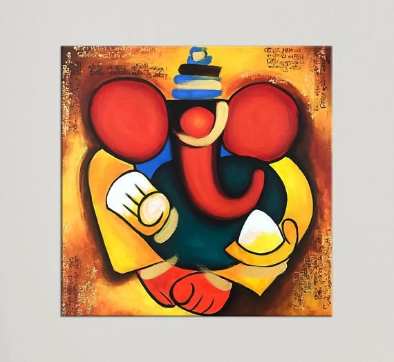 Ganesha Painting Indian Art Painting On Canvas Indian Inside Abstract Ganesha Wall Art (Photo 6 of 20)