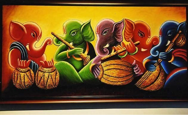 Ganesha Paintings Acrylic – Google Search | Hindu Gods | Pinterest Within Abstract Ganesha Wall Art (Photo 9 of 20)