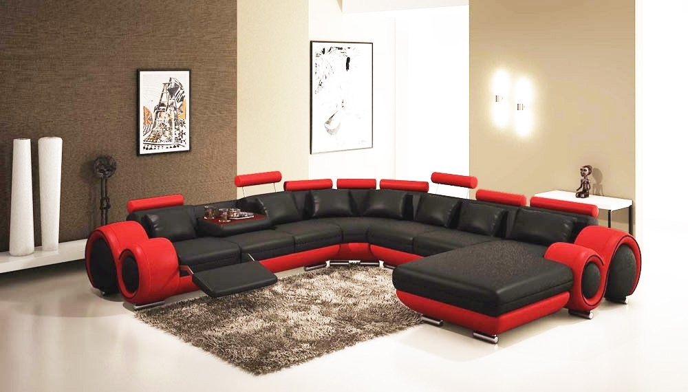 Gemma Modern Black And Red Sectional Sofa | Leather Sectionals Inside Red Black Sectional Sofas (Photo 2 of 10)