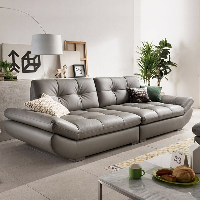 Genuine Leather Sofa Sectional Living Room Sofa Corner Home Inside 4 Seat Leather Sofas (Image 6 of 10)