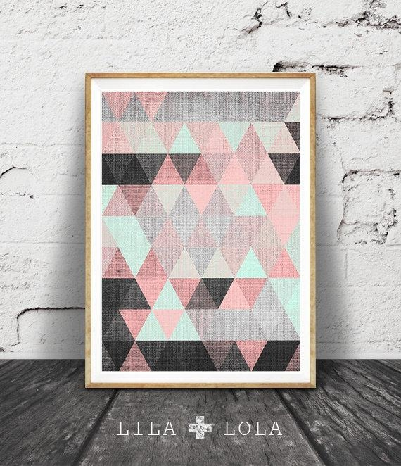 Geometric Print, Printable Wall Art, Pink Black And Mint Green With Regard To Pink Abstract Wall Art (Image 12 of 20)