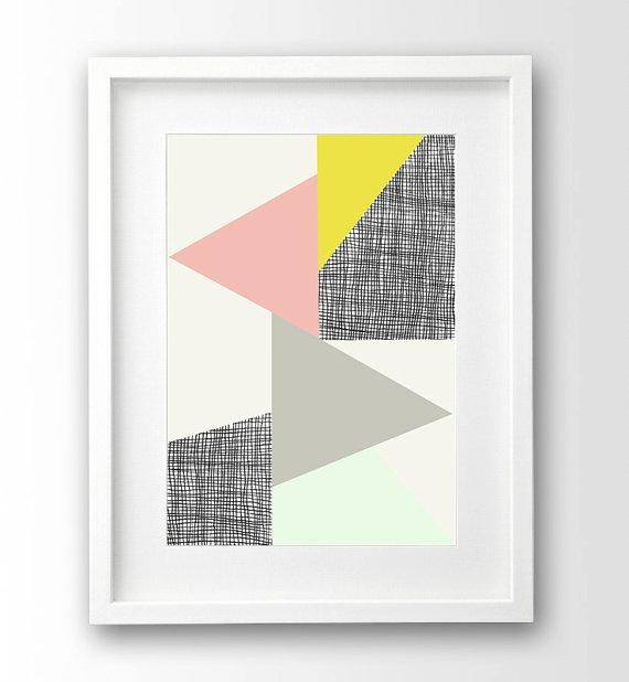 Geometric Wall Art Triangle Print Pastel Art Pink And With Regard To Pastel Abstract Wall Art (Image 11 of 20)