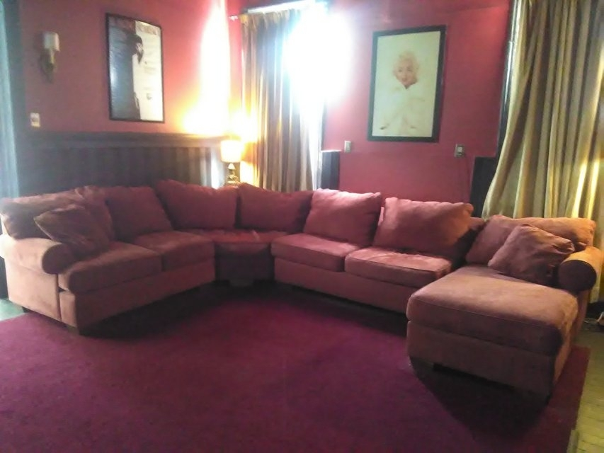Giant 4 Piece Bauhaus Sectional Sofa Couch Merlot Microsuede Throughout Macon Ga Sectional Sofas (View 9 of 10)